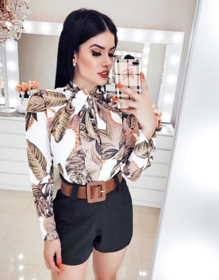 Conjunto Feminino Camisa Laço + Short