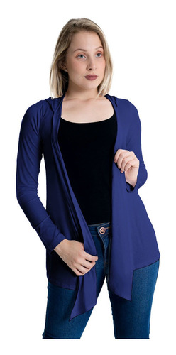 Imagem 1 de 5 de Cardigan Capuz Plus Size Casaco Com Bico Blusa Feminina