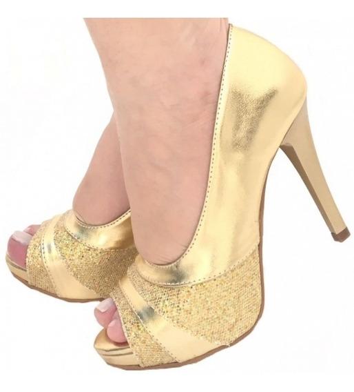 Sandália Dourada Metalizada Glitter Salto Alto Meia Pata