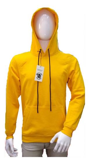 Sudadera Hombre Con Capucha Bolsas Amarilla Rosa Sn Estampar