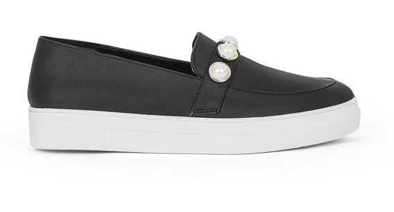 Zapatos Flats Dama Perlas Vinil Negro 8318