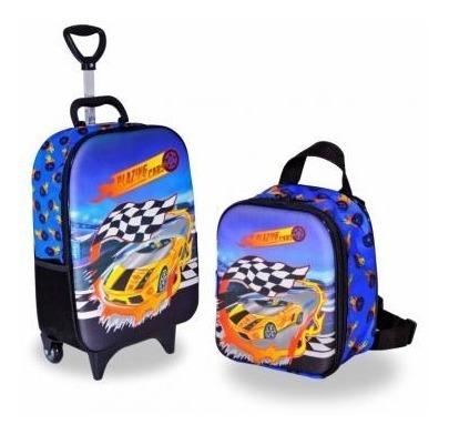 Bolsa Mochila E Lancheira Carros Soft Cars Speed 3d Maleta