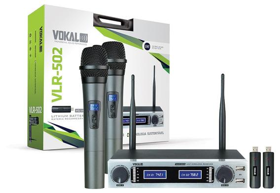 Microfone Duplo Sem Fio Vokal Vlr 502 - Bateria Recarregavel