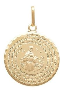 Pingente Medalha Com Orao De So Francisco De Assis
