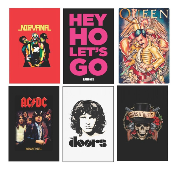 Kit 6 Placas Decorativas Bandas Rock Queen Guns Nirvana