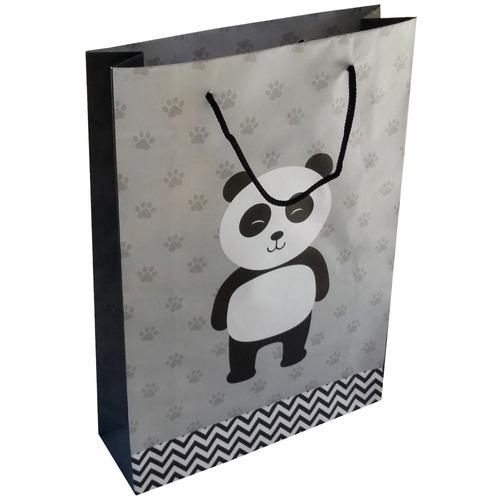 11c71679cfe936 100 Sacolas Panda Presente 25x17x6cm Bolsa Festa 90g