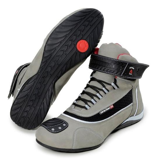 Tênis Motociclista Atron Shoes Refletivo Cano Alto Ref:310