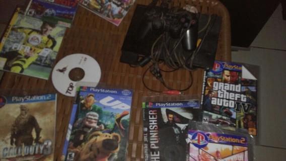 Video Game Ps2 Com Mais 9jogos De Brinde