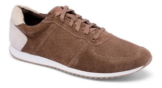 Sapatenis Couro Tenis Jogging Chocolate Rockfoot Legítimo