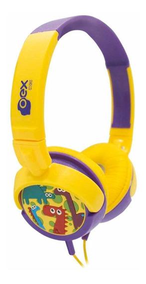Fone De Ouvido Headfone Infantil Dino Hp300 Oex Amarelo