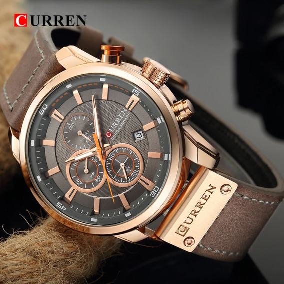 Relógio Masculino Curren De Couro Oferta 12%off