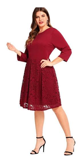 Vestido Shein Fiesta Falda Encaje Talle Especial
