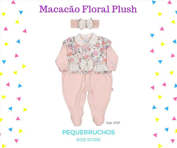 Macacão Floral Rosa Plush Manga Longa