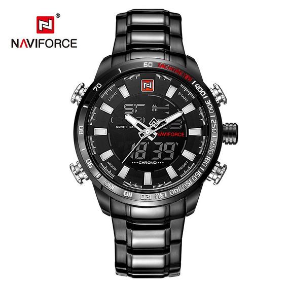Naviforce Luxo Dual Exibição Digital Quartz Homens Relógio