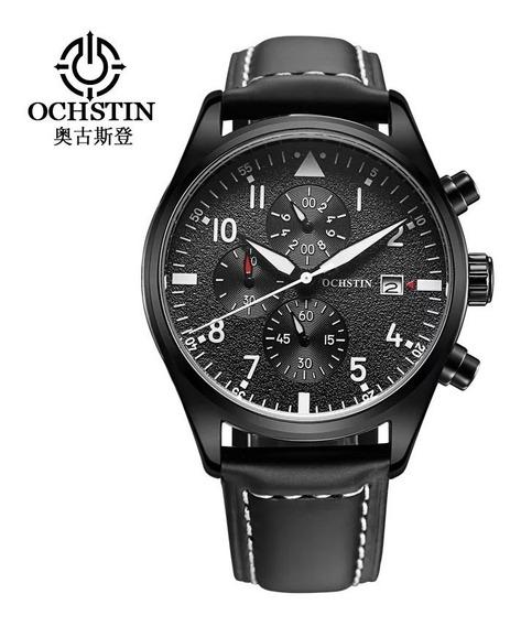 Relógio Pulso Couro Ochstin Preto Funcional Prova Dagua Luxo