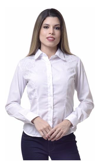 Camisa Social Feminina Slim Com Strass