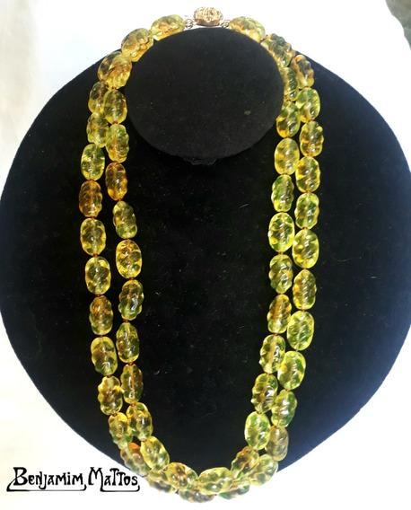 Colar Antigo Feminino Contas Vidro Uralina Amarelo Murano