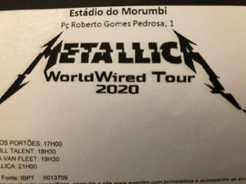 2 Ingressos Metallica Sp 18/12/2020 Cadeira 1 Sup Inteira