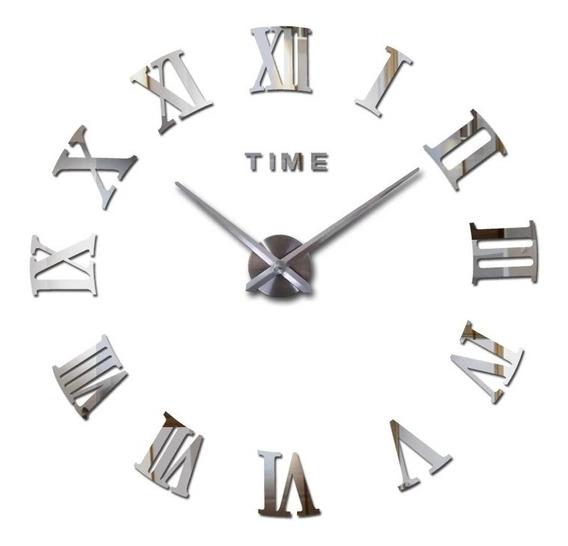 Reloj Pared Espejo 3d Números Romanos Minimalesta Diy Grande