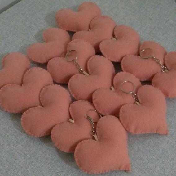 Chaveiro Coração Feltro Lembrancinha Debutante 15 Unidades