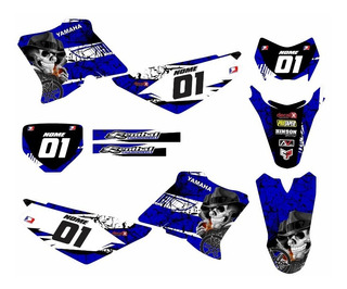 Adesivo Moto Trilha Yamaha Xtz 125 Caveira Azul 0,20mm 070