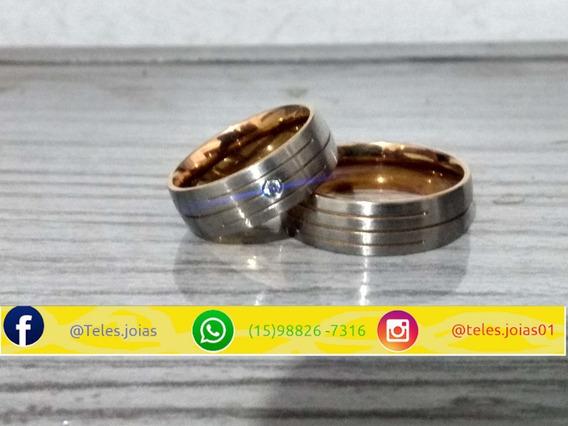 Alianças De Namoro De Aço Inox Com Pedra Folheada Ouro Rosê