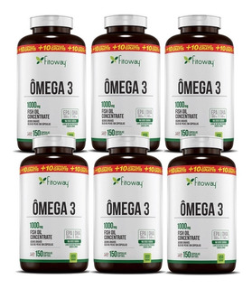 Kit 6x Omega 3 Epa Dha 1000mg - 150 Cps - Fitoway (900 Cps)