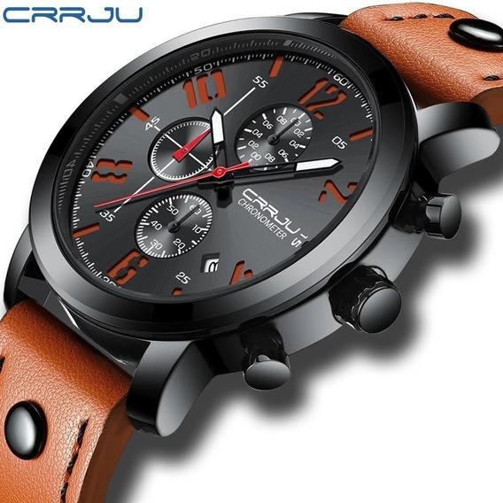Reloj Sport Creativo Con Fecha Crrju Hombre Cuero Moda 2020