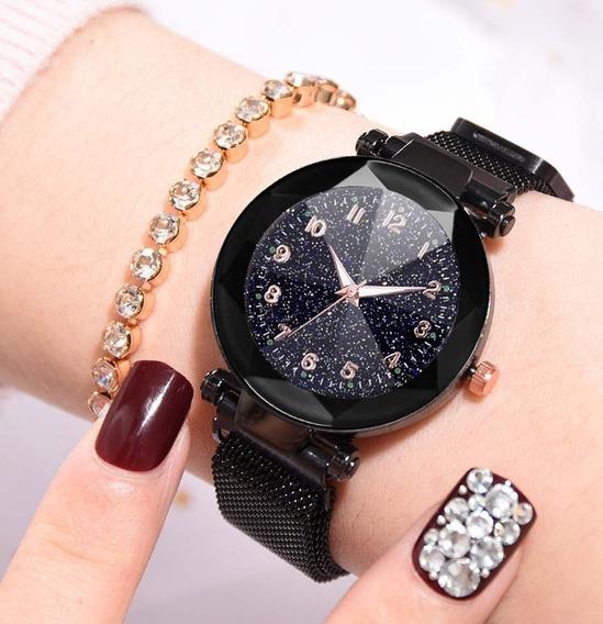 Relógio Feminino Ceu Estrelado Pulseira Magnética