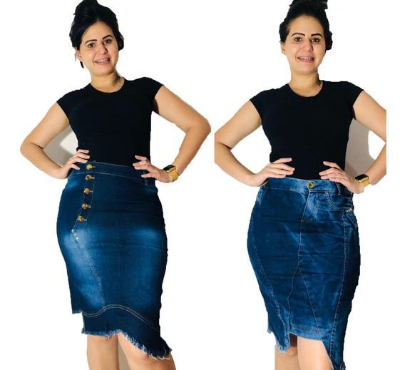 Saia Jeans Cintura Alta Evangélica Barata 5 Peças Sortidas