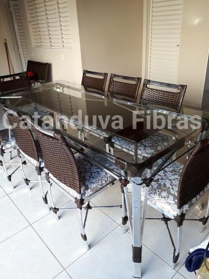 Mesa De Jantar Com 8 Cadeiras Fibras Sintética Junco Vime