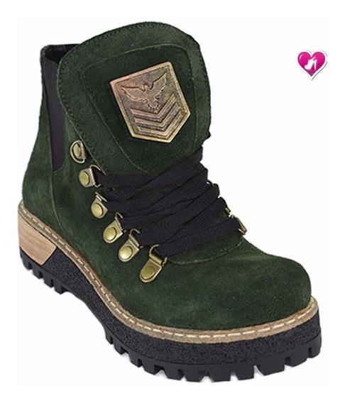 Borcego Botineta Cuero Modelo Chapon Navy De Shoes Bayres