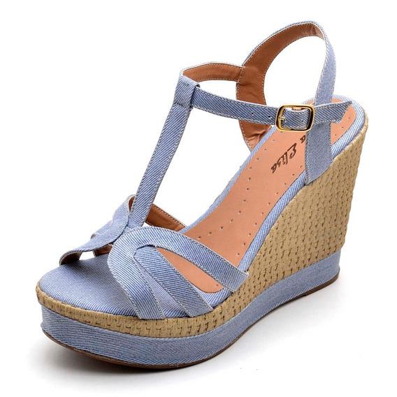 Sandália Feminina Anabela Salto Alto Tecido Jeans Ref. 3230