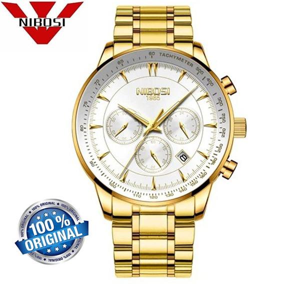 Relógio Masculino Nibosi 2351 Luxo Casual Dourado E Branco
