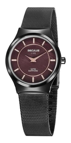 Relógio Seculus Madrepérola Malha De Aço Preto 20772lpsvps1