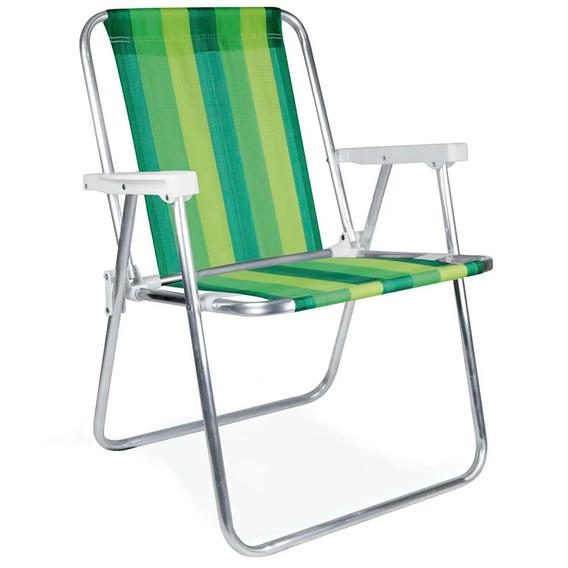 Cadeira De Praia Dobrável Em Alumínio Verde Mor