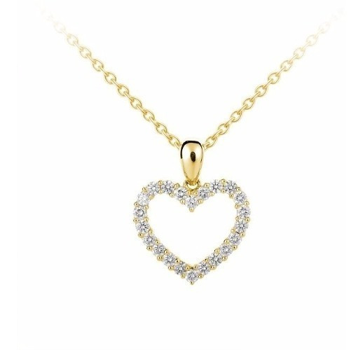 Corrente Ouro 18k/750 + Pingente Coração De Diamantes