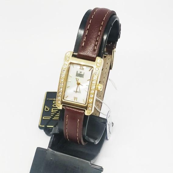 Relógio Dumont Feminino Quadrado Pulseira De Borracha