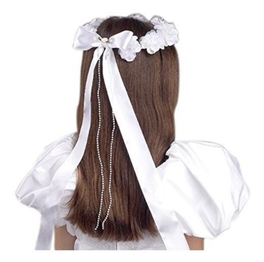 Tiara Moldeada Floral Blanca De La Primera Comunión De Las M