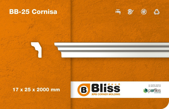 Cornisa Moldura Interior Blis Deco Telgopor Bb25 Pack X 4mt