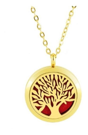 Colar Aromático Difusor Árvore Da Vida Aço Inox Dourado 2 Cm