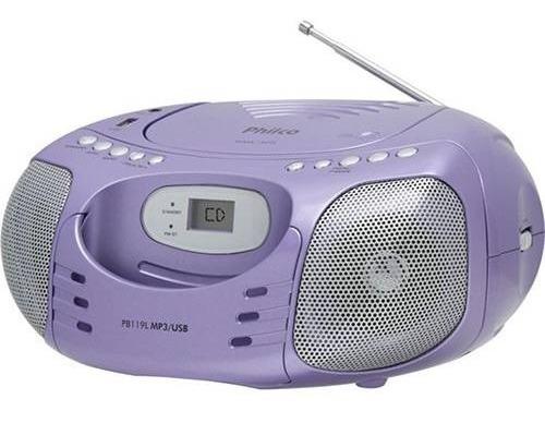 Rádio Cd Player Portátil Philco 4w Mp3 Usb Rádio Fm - Pb119l