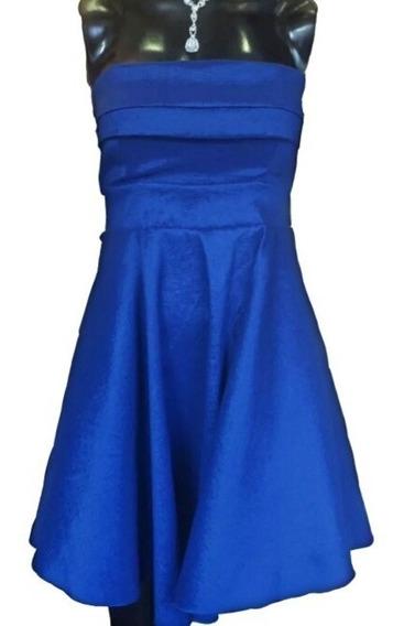 Vestido De Fiesta Strapless Corto Azul, Se Liquida!!!