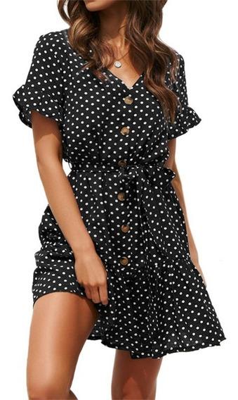 Vestido De Botón De Lunares Banco Y Negro Elegente Moderna