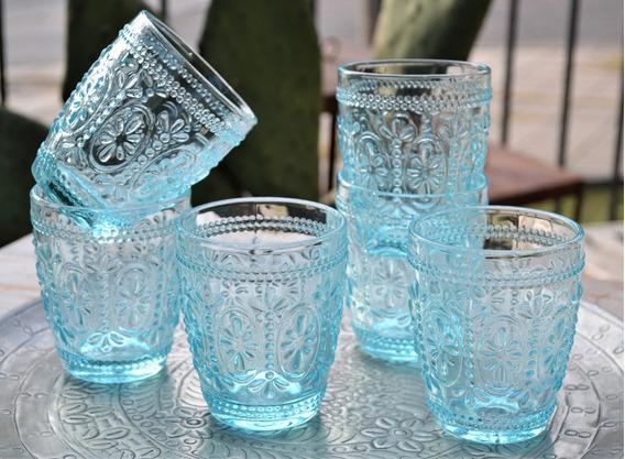 Set 6 Vasos P/agua Turquesa Celeste De Vidrio Labrada 10x8cm