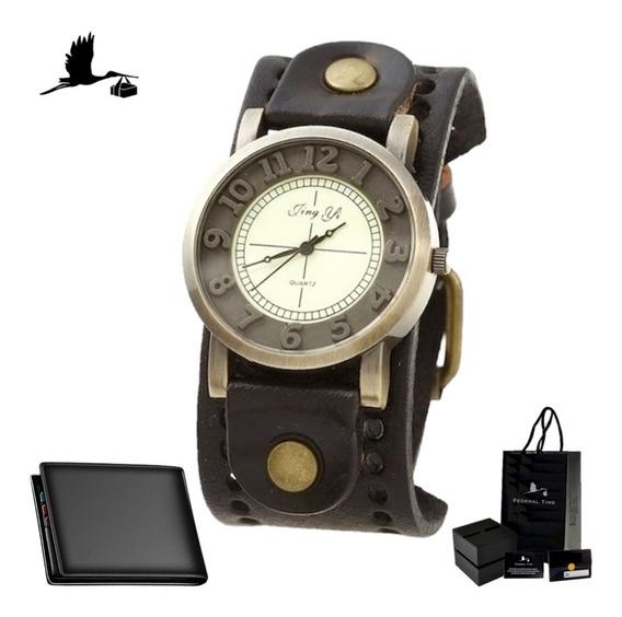 Relógio Masculino Top Vintage De Couro Moda Retro + Carteira