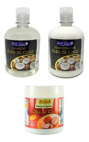 Shampoo + Condicionador+ Mascara Capilar Oleo De Coco
