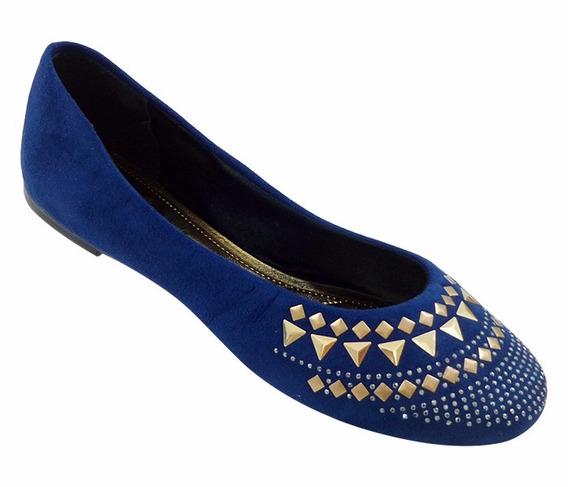 Sapatilha Feminina Em Camurça Azul Marinho Com Hotfix