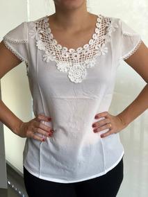 Blusa Blusinha Feminina Com Bordado Moda Renda