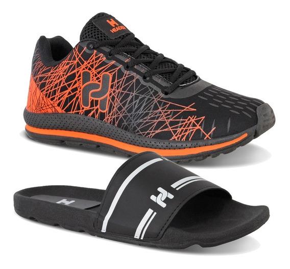 Kit 1 Tênis Masculino Casual Spider Caminhada + 1 Chinelo